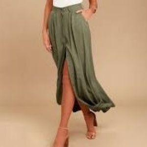 Scout Green Pistola Snap Front Maxi Skirt S